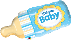 Blue 'Welcome Baby' Bottle Shape Foil Balloon